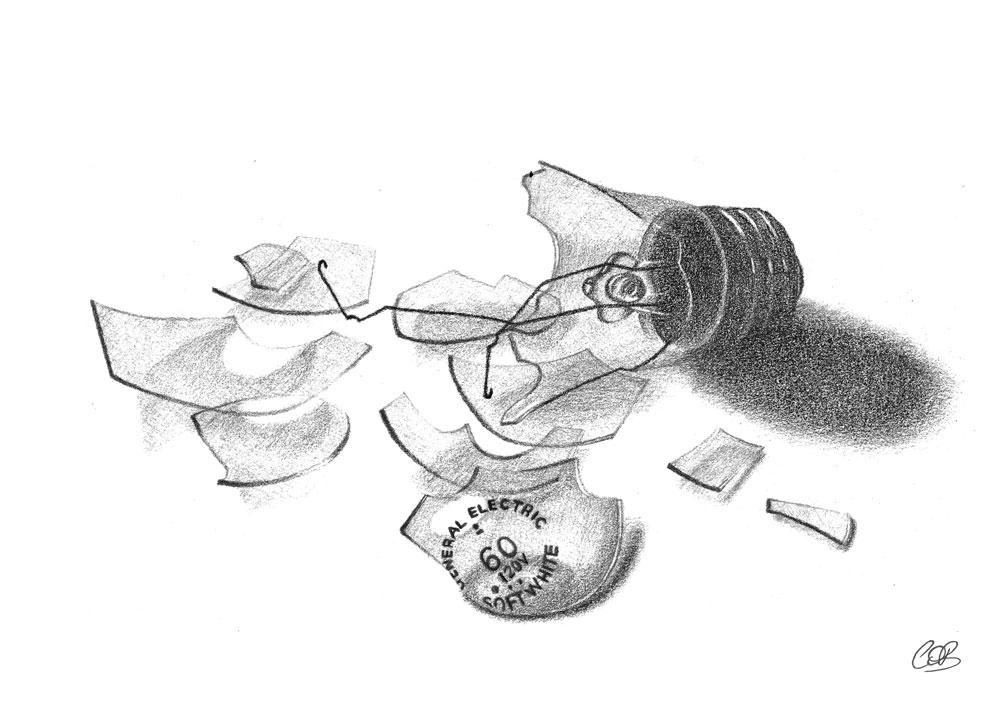 Broken Light Bulb Sketch