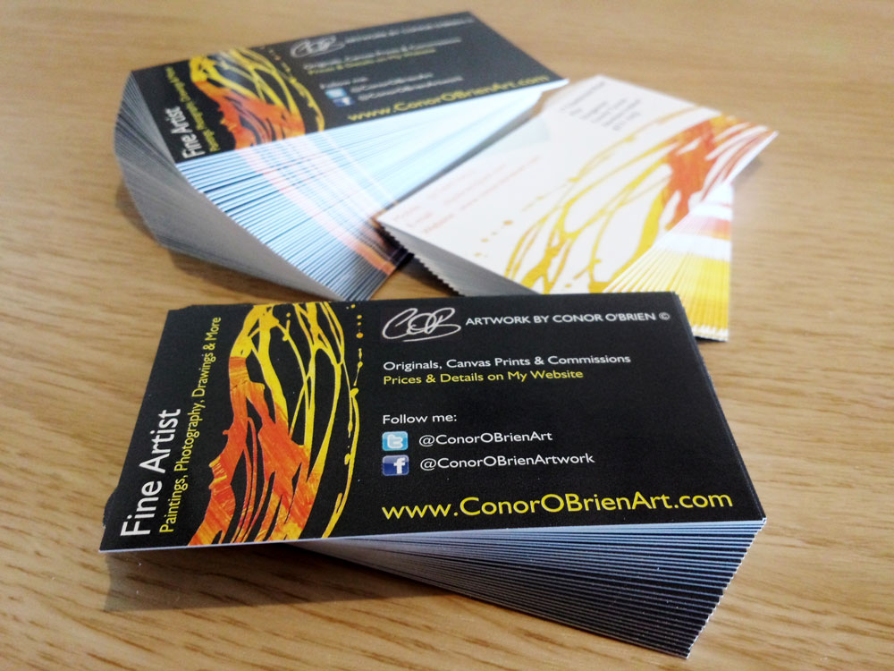 New business cards for the london exhibition conor obrien art business cards photograph reheart Image collections